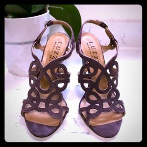 laser-cut high heel sandal